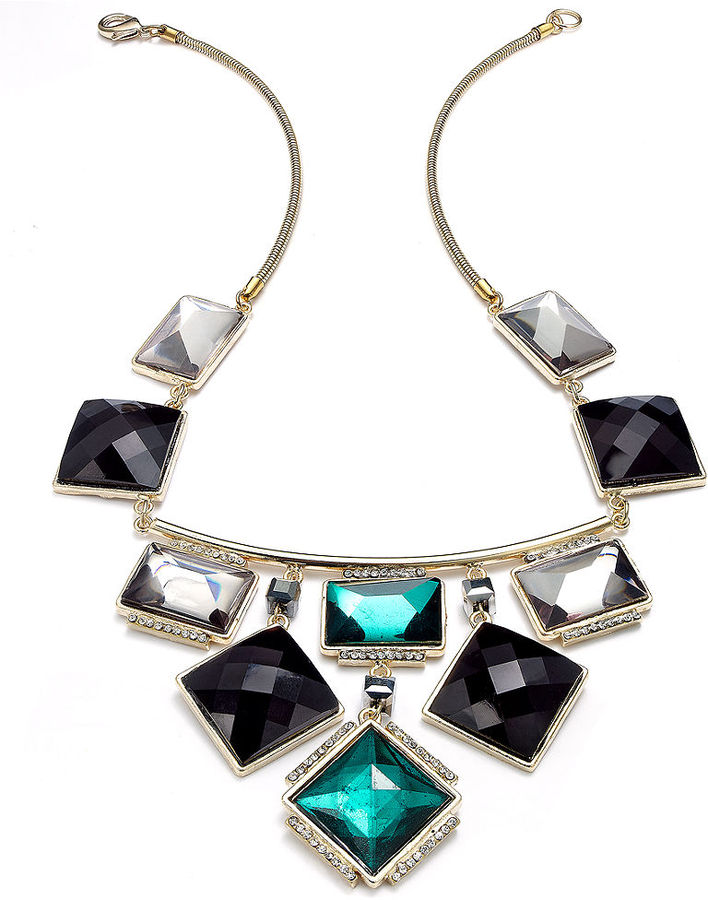 INC International Concepts Gold-Tone Jet and Green Stone Bib Necklace