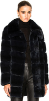 Yves Salomon Long Rex Rabbit Fur Coat