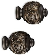 Cambria® Elite Complete Leaf Embossed Finial in Matte Brown (Set of 2)