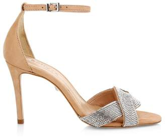 Schutz Jolita Crystal-Embellished Leather Sandals
