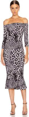 Norma Kamali Off Shoulder Fishtail Dress in Grey Leopard | FWRD