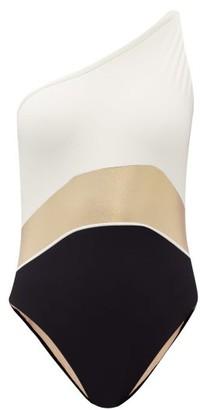 ZEUS + DIONE Santorini One-shoulder Swimsuit - Ivory Multi
