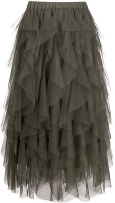 P.A.R.O.S.H. Ruffled-Tulle Midi Skirt