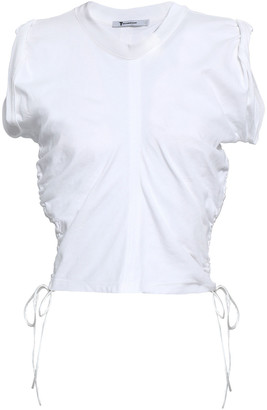 Alexander Wang Cropped Ruched Cotton-jersey Top