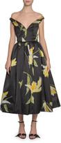 Marc Jacobs Runway) Off-the-Shoulder Lily-Print Taffeta Dress