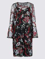 M&S Collection Embroidered Botanical Mesh Tunic Midi Dress