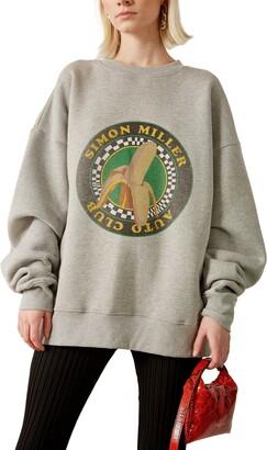 Simon Miller Rista Oversize Logo Banana Print Cotton Sweatshirt