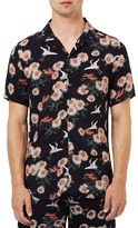 Topman Floral Print Revere Collar Short Sleeve Shirt
