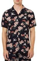 Topman Men's Floral Print Revere Collar Short Sleeve Shirt