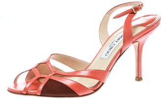 Jimmy Choo Brown Canvas And Leather Slingback Sandals Size 39.5