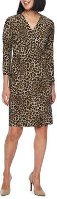 Evan Picone BLACK LABEL BY EVAN-PICONE Black Label by Evan-Picone 3/4 Sleeve Leopard Print Wrap Dress