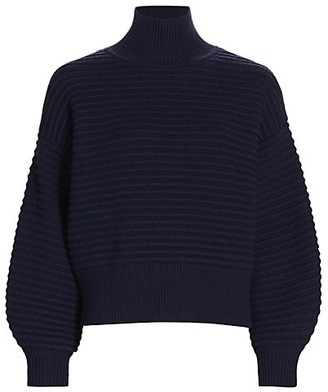 Tanya Taylor Liliana Puff-Sleeve Knit Turtleneck