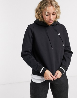 Fred Perry embroidered hoodie with hem logo in black