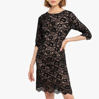 Molly Bracken Lace Knee-Length Shift Dress with 3/4 Length Sleeves