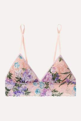 Hanky Panky Ashley Floral-print Stretch-lace Soft-cup Triangle Bra - Blush
