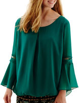 JCPenney BY AND BY by&by Bell-Sleeve Chiffon Blouse