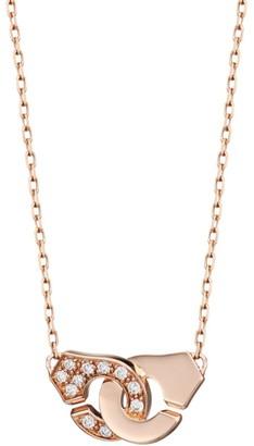 Dinh Van Menottes R8 18K Yellow Gold & Diamond Handcuff Pendant Necklace