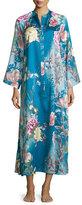 Natori Serene Floral-Print Zip Caftan, Seaport Blue