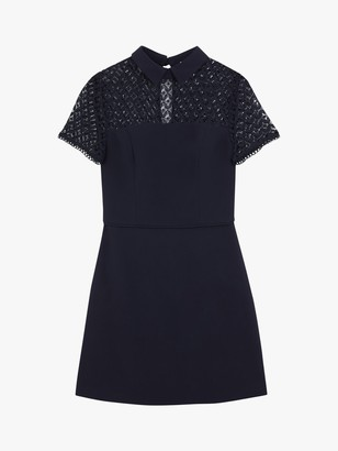 Oasis Lace Insert Mini Dress, Navy