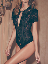 For Love & Lemons Skivvies Elsa Lace Bodysuit in Black