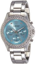 August Steiner Women's AS8136SSLB Silver Multifunction Quartz Watch with Light Blue Dial and Silver Bracelet