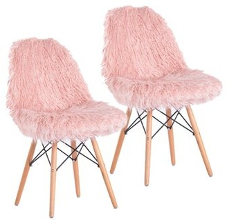 Mercer41 Engles Fuzzy Side Chair Fabric: Pink