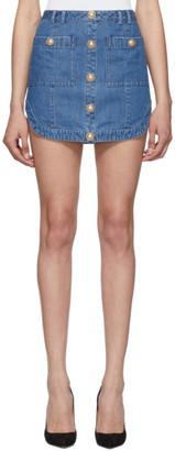 Balmain Blue Soft Denim Miniskirt