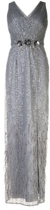 Aidan Mattox V-neck sequin embellished dress