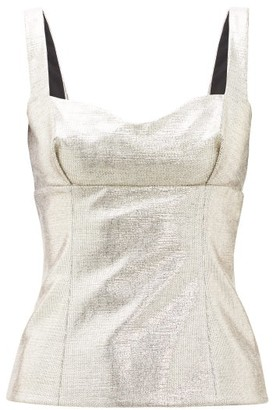 Emilia Wickstead Madeline Sweetheart-neck Lame Top - Womens - Gold