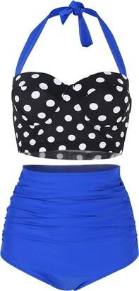 ChayChax Women Vintage Swimsuits High Waisted Retro Polka Dot Bikini Set Bathing Suits Two Piece
