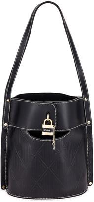Chloé Aby Embossed Monogram Bucket Bag in Full Blue | FWRD