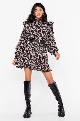 Nasty Gal Womens Rose to the Occasion High Neck Mini Dress - Black