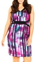 City Chic 'Attitude' Print Sleeveless Sheath Dress (Plus Size)