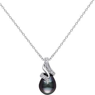 Black Diamond Sofia B Women's Necklaces Black - Diamond & Cultured Tahitian Pearl Sterling Silver Twist Pendant Necklace