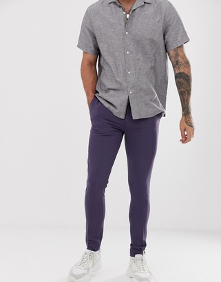 ASOS DESIGN super skinny smart trousers in slate blue