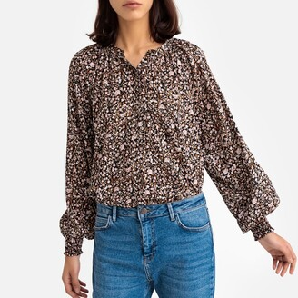 Floral Grandad-Collar Blouse with Long Puff Sleeves