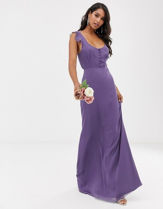 Maids To Measure Maids to Measure bridesmaid maxi dress with button front detail and tie back-Navy