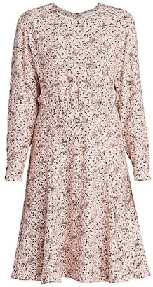 Chloé Bird-Print Silk Crepe Dress