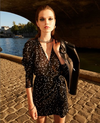 The Kooples Short black dress with shoulder pads & stars