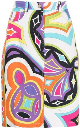Emilio Pucci Pre-Owned Geometric Print Denim Skirt
