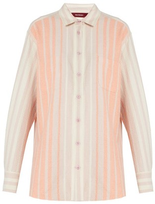 Sies Marjan Striped Brushed-cotton Shirt - Pink Stripe