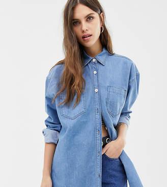 Reclaimed Vintage inspired oversized denim shirt in dark stone wash-Blue