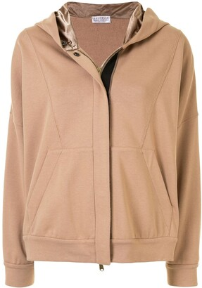 Brunello Cucinelli Contrast Zip-Up Hoodie