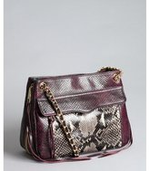 Rebecca Minkoff black and deep purple snake embossed leather 'Swing' shoulder bag