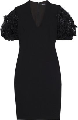 Badgley Mischka Embellished Tulle-paneled Crepe Dress