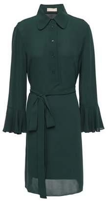 Michael Kors Belted Silk-crepe Mini Shirt Dress