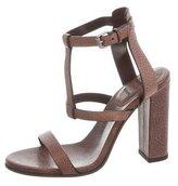 Brunello Cucinelli Leather T-Strap Sandals w/ Tags