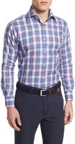 Peter Millar Plaid Long-Sleeve Sport Shirt, Blue