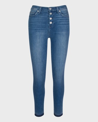 7 For All Mankind High Waist Ankle Skinny with Button Fly in Shoreline Drive