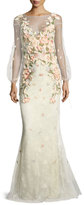 Marchesa Bishop-Sleeve Lace Evening Gown w/ Floral Appliques